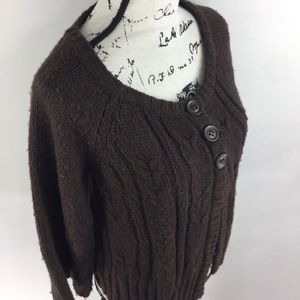 a.n.a 3/4 Button Down Brown Knit Cardigan Sweater